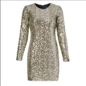 Slate & Willow Dresses - NEW SLATE & WILLOW Gold Metallic Sequin Mini Dress